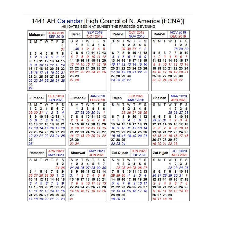 Islamic Lunar Calendar 2020 Islamic Calendar | ISGVF